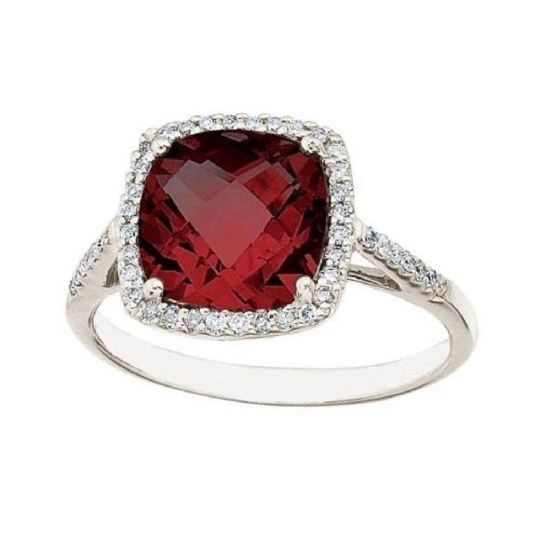 Cushion -Cut Garnet and Diamond Cocktail Ring 14k White