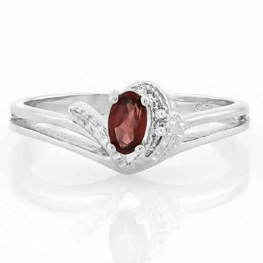 1/4 CARAT GARNET & DIAMOND 925 STERLING SILVER RING