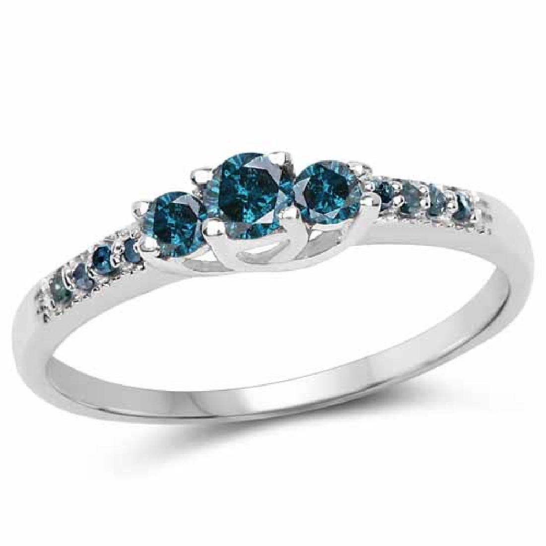 0.26 Carat Genuine Blue Diamond .925 Sterling Silver Ri