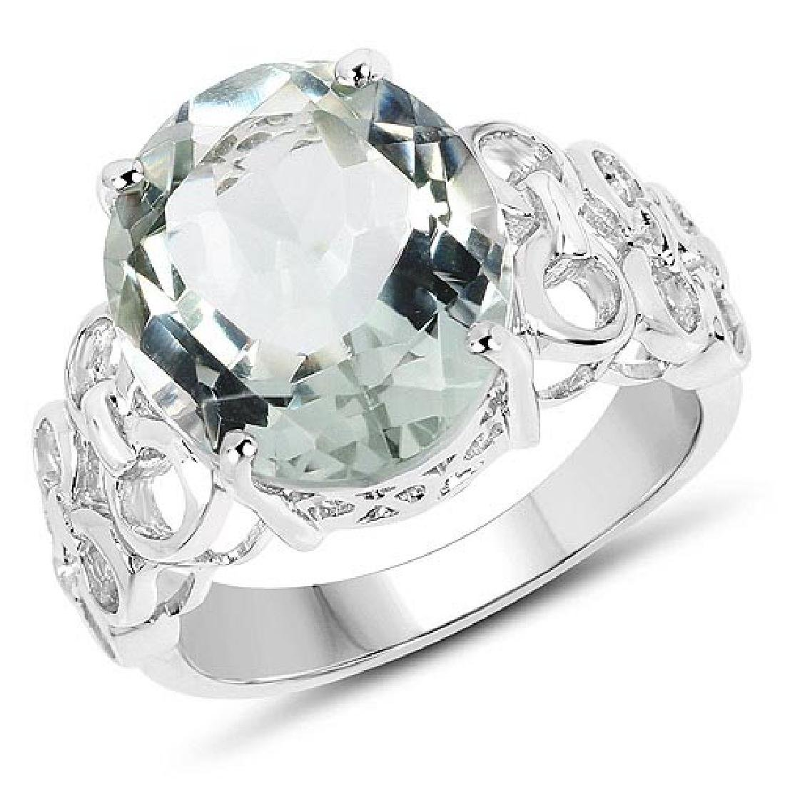 7.10 Carat Genuine Green Amethyst .925 Sterling Silver