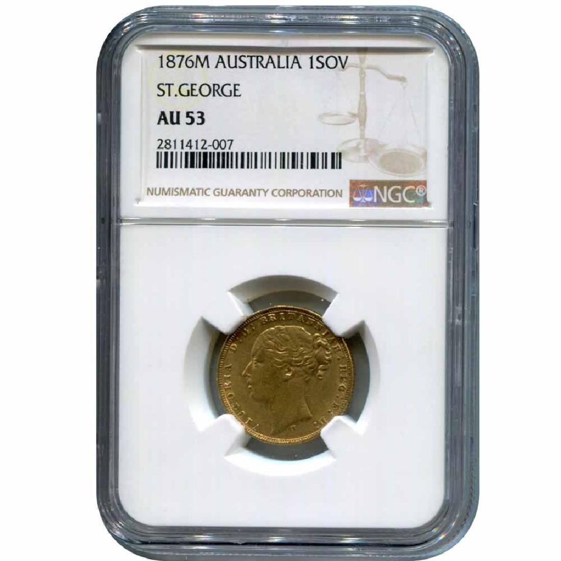 Australia gold sovereign 1876M AU53 NGC