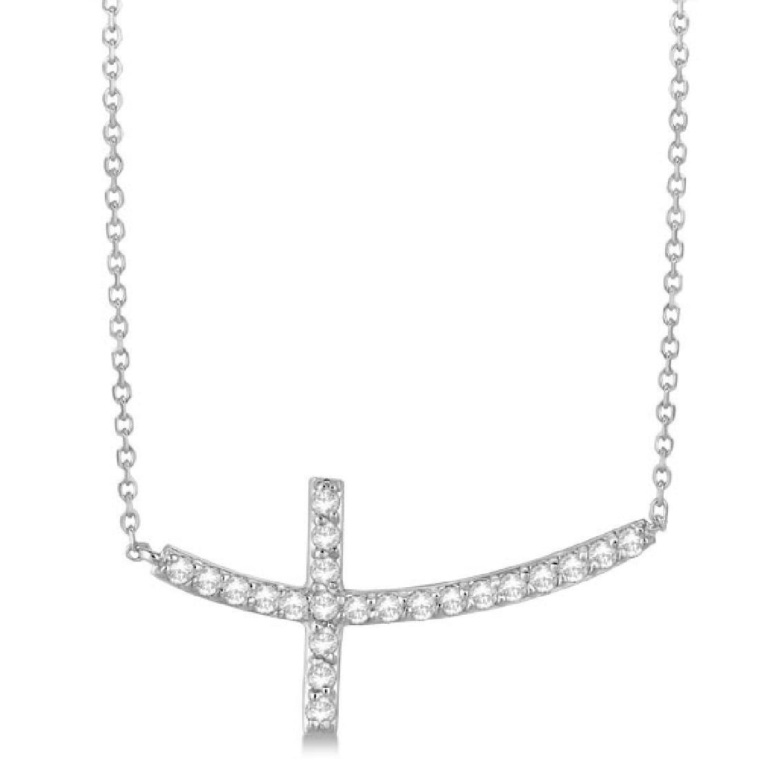 Diamond Sideways Curved Cross Pendant Necklace 14k Whit