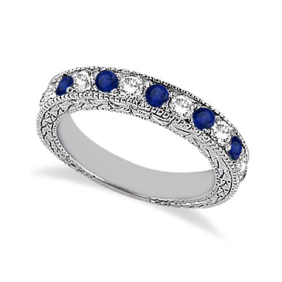 Antique Diamond and Blue Sapphire Wedding Ring 14kt Whi