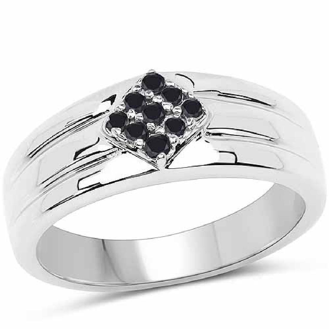 0.14 Carat Genuine Black Diamond .925 Sterling Silver R