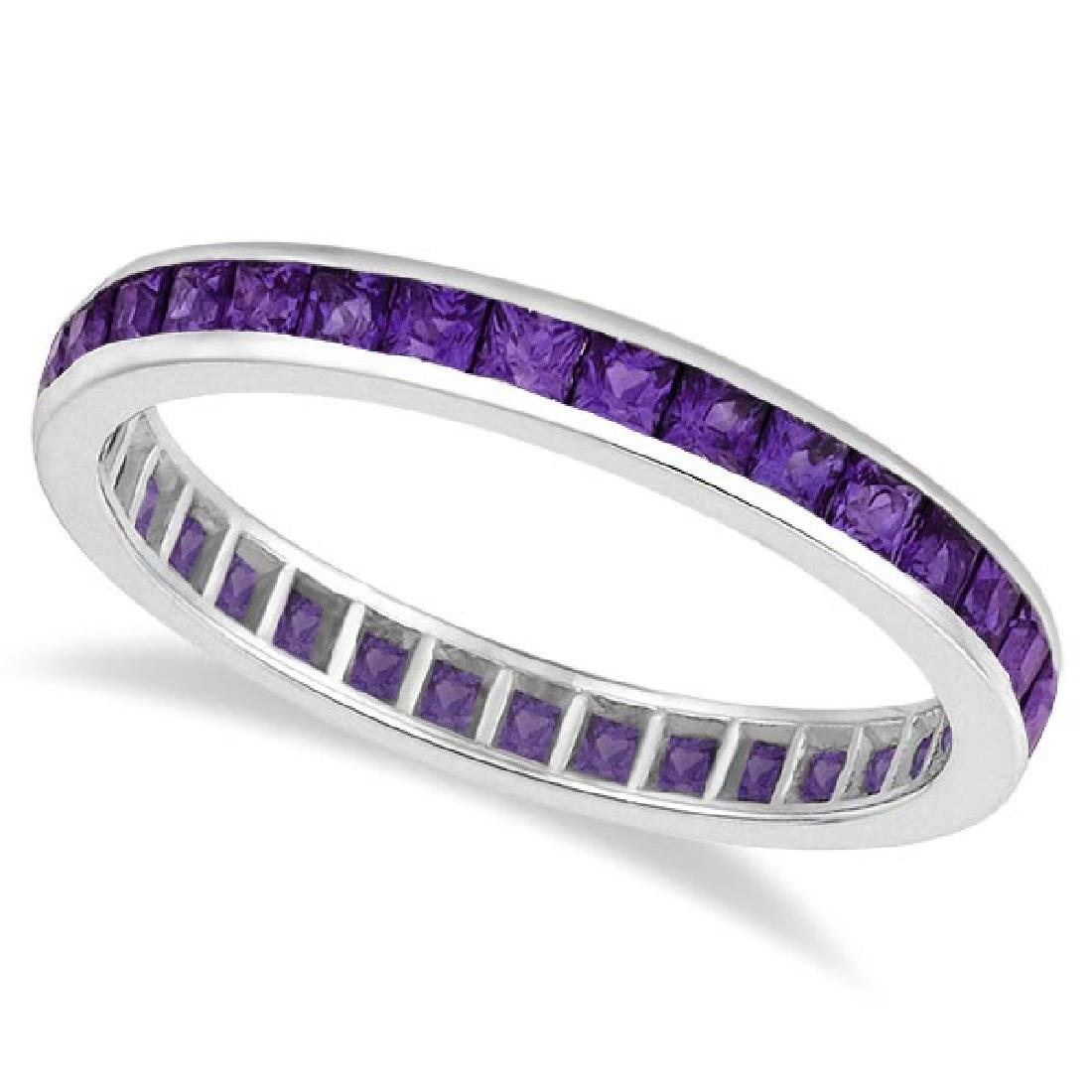 Princess-Cut Amethyst Eternity Ring Band 14k White Gold