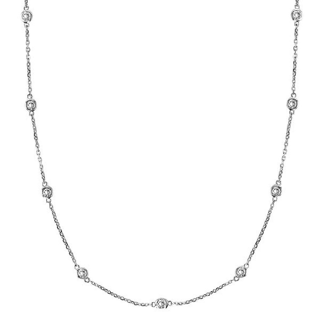 Diamonds by The Yard Bezel-Set Necklace in 14k White Go