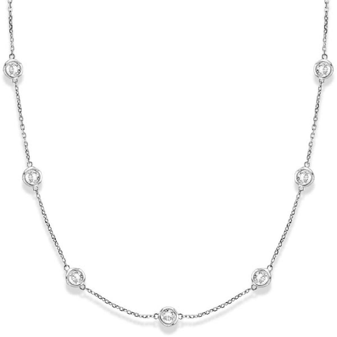 Diamonds by The Yard Bezel-Set Necklace 14k White Gold