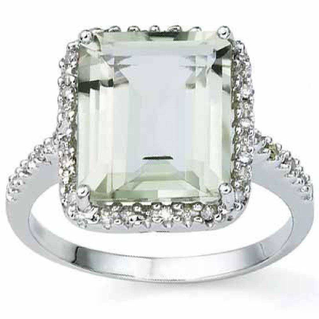 6.06 CARAT TW (3 PCS) GREEN AMETHYST & GENUINE DIAMOND