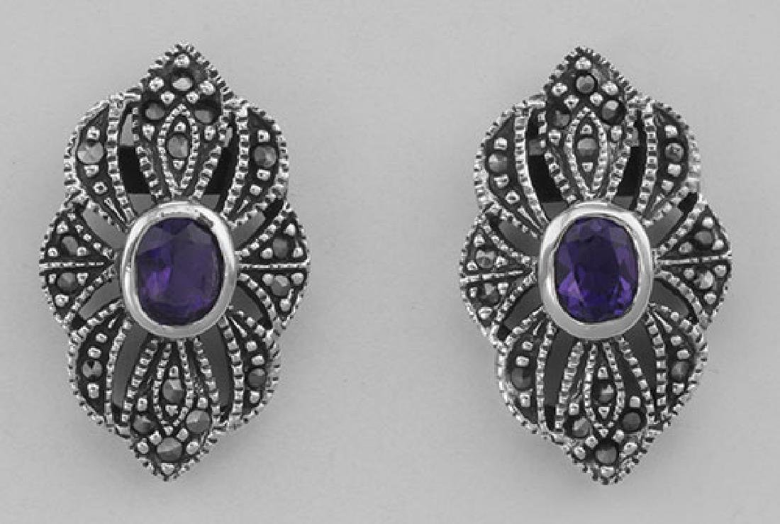 Victorian Style Amethyst Marcasite Earrings - Sterling