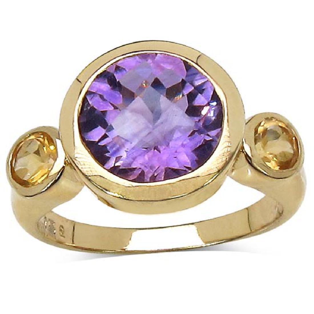 14K Yellow Gold Plated 3.90 Carat Genuine Amethyst & Ci