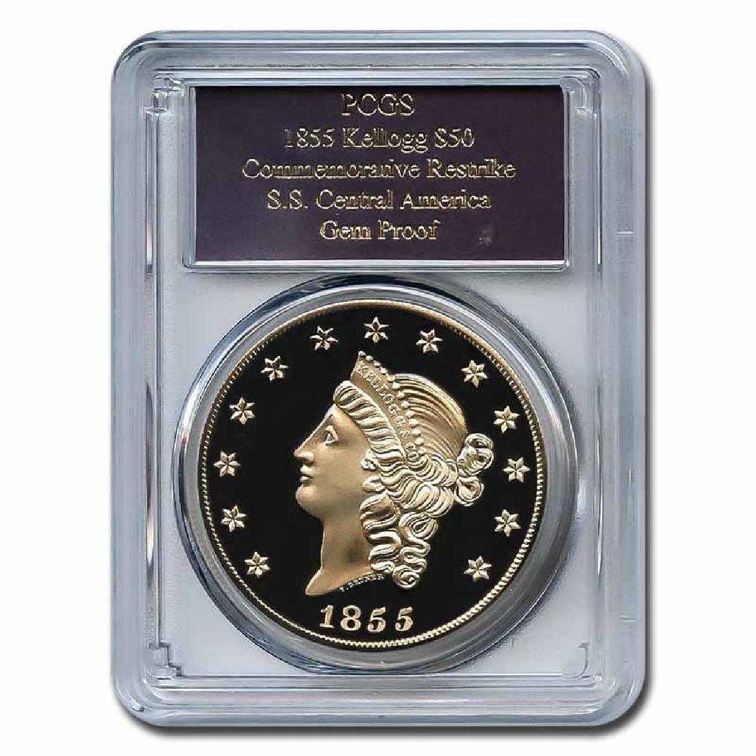 Certified Commemorative $50 Gold 1855 Kellogg Restrike