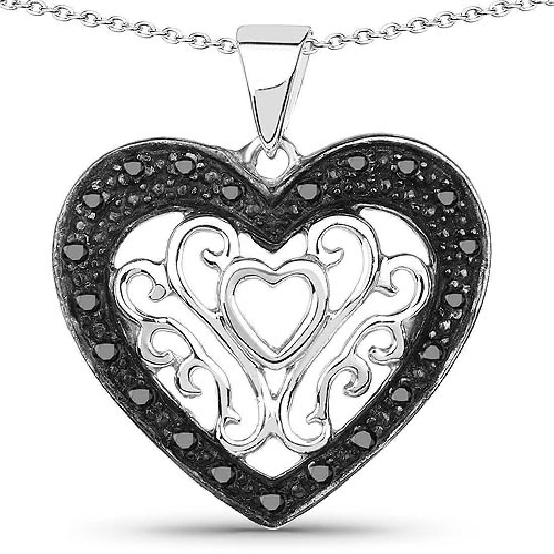 0.22 Carat Genuine Black Diamond .925 Sterling Silver P