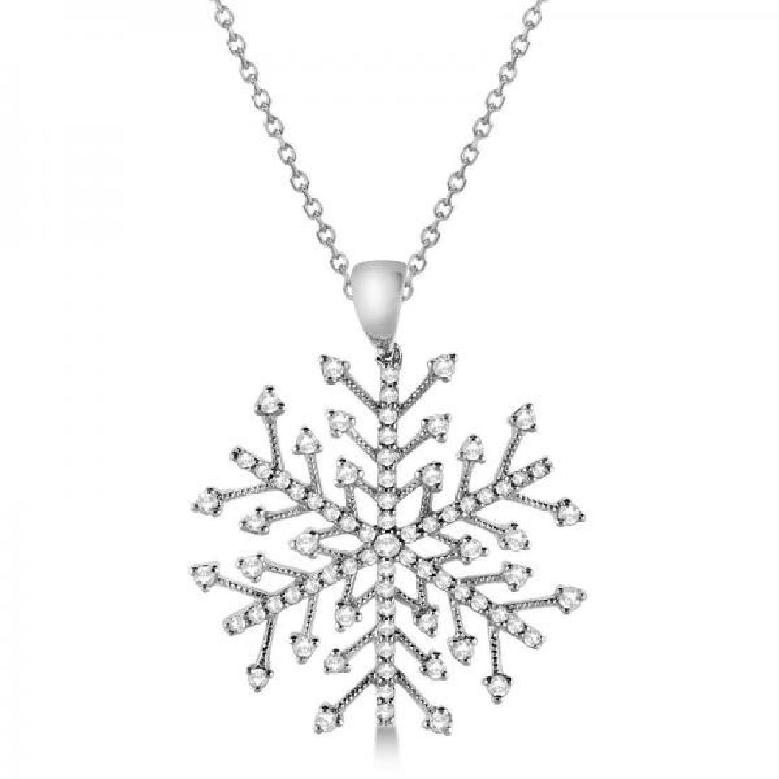 Diamond Snowflake Pendant Necklace in 14K White Gold (0