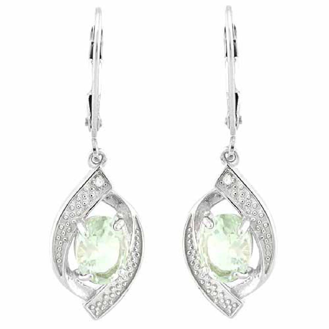 1 CARAT GREEN AMETHYST & DIAMOND 925 STERLING SILVER EA