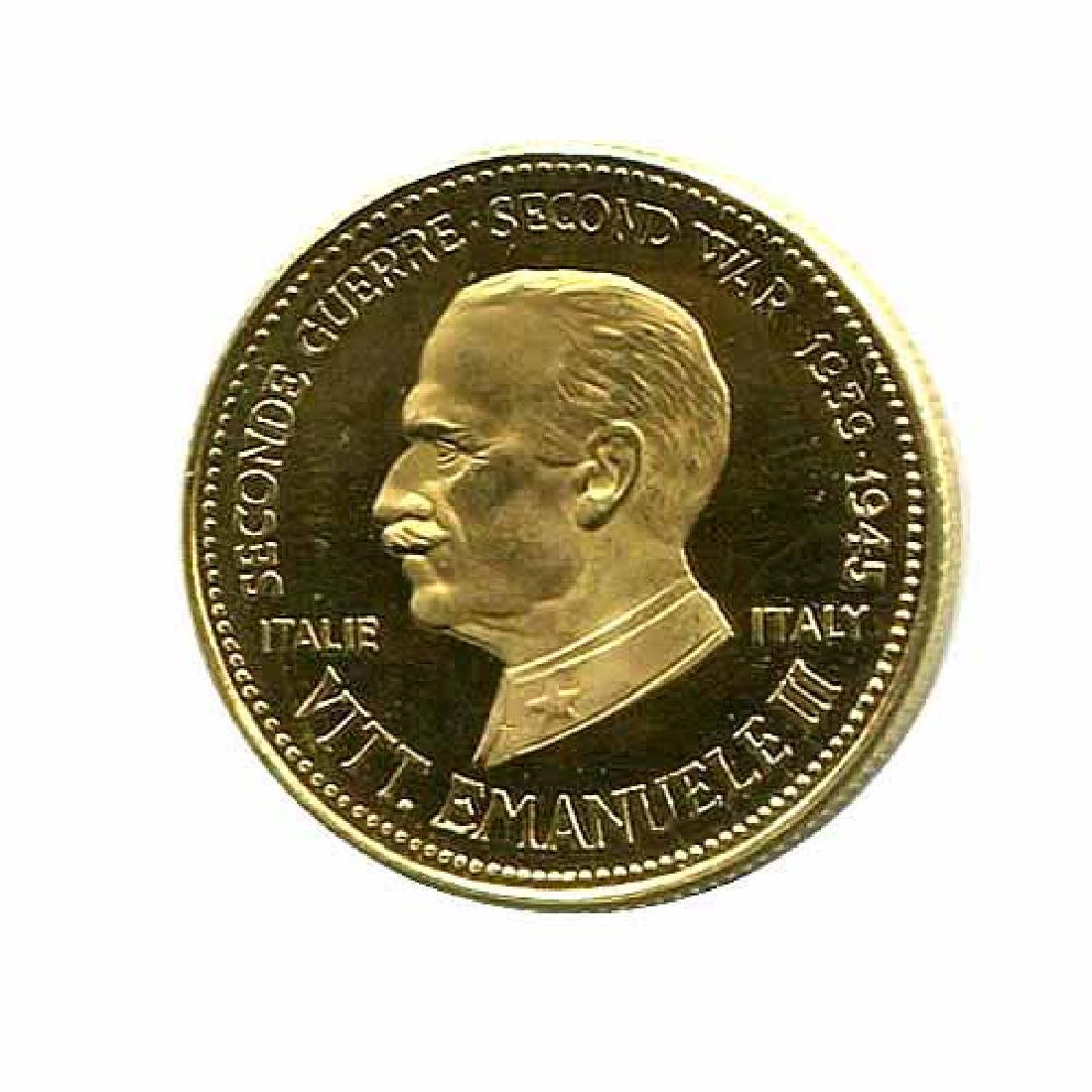 WWII Commemorative Proof Gold Medal 7g. 1958 Vitorrio E