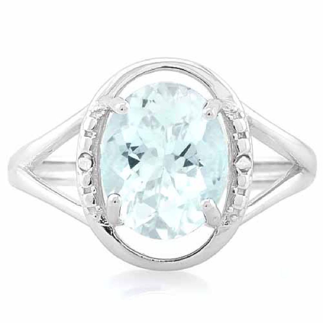 1 3/4 CARAT AQUAMARINE & DIAMOND 925 STERLING SILVER RI