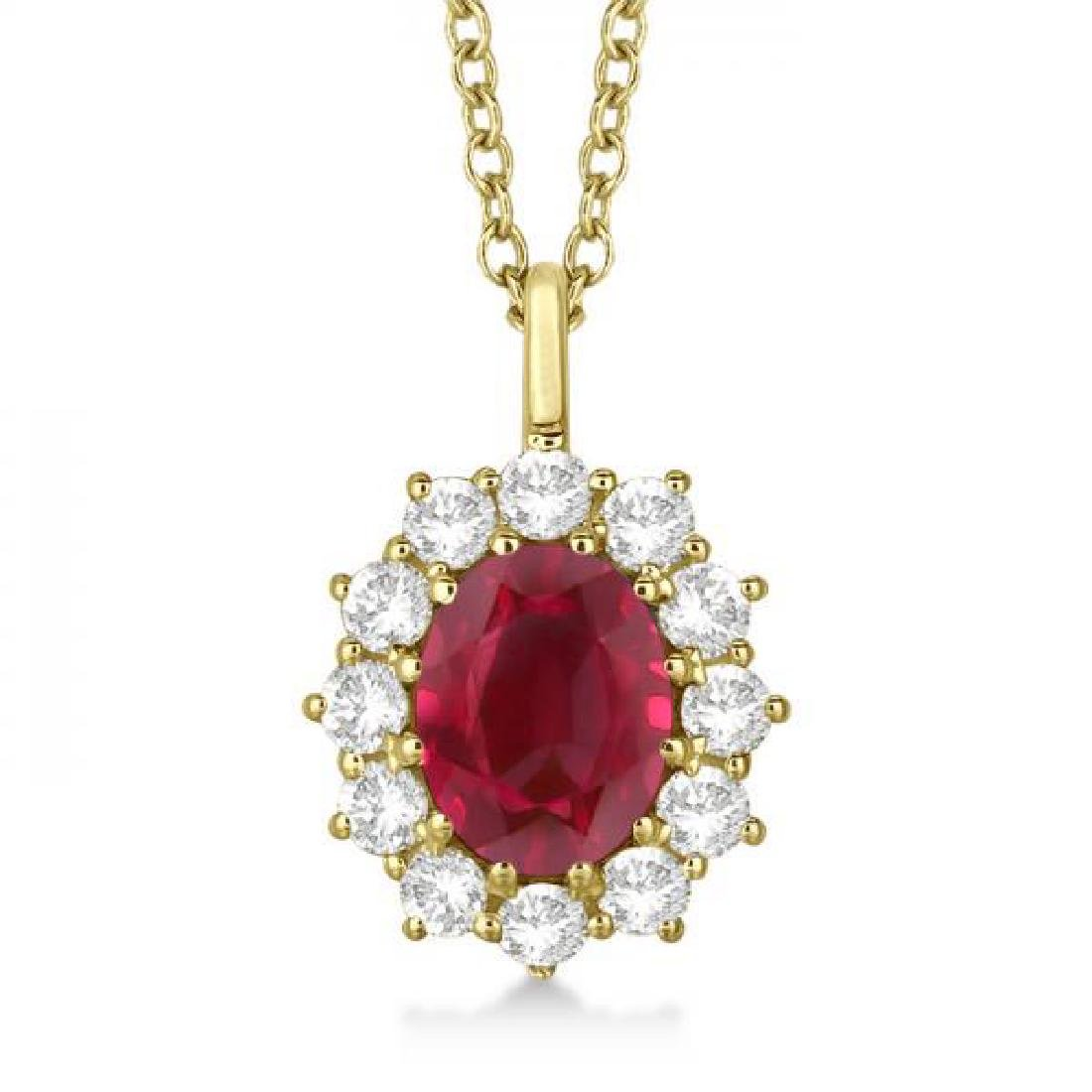 Oval Ruby and Diamond Pendant Necklace 14k Yellow Gold