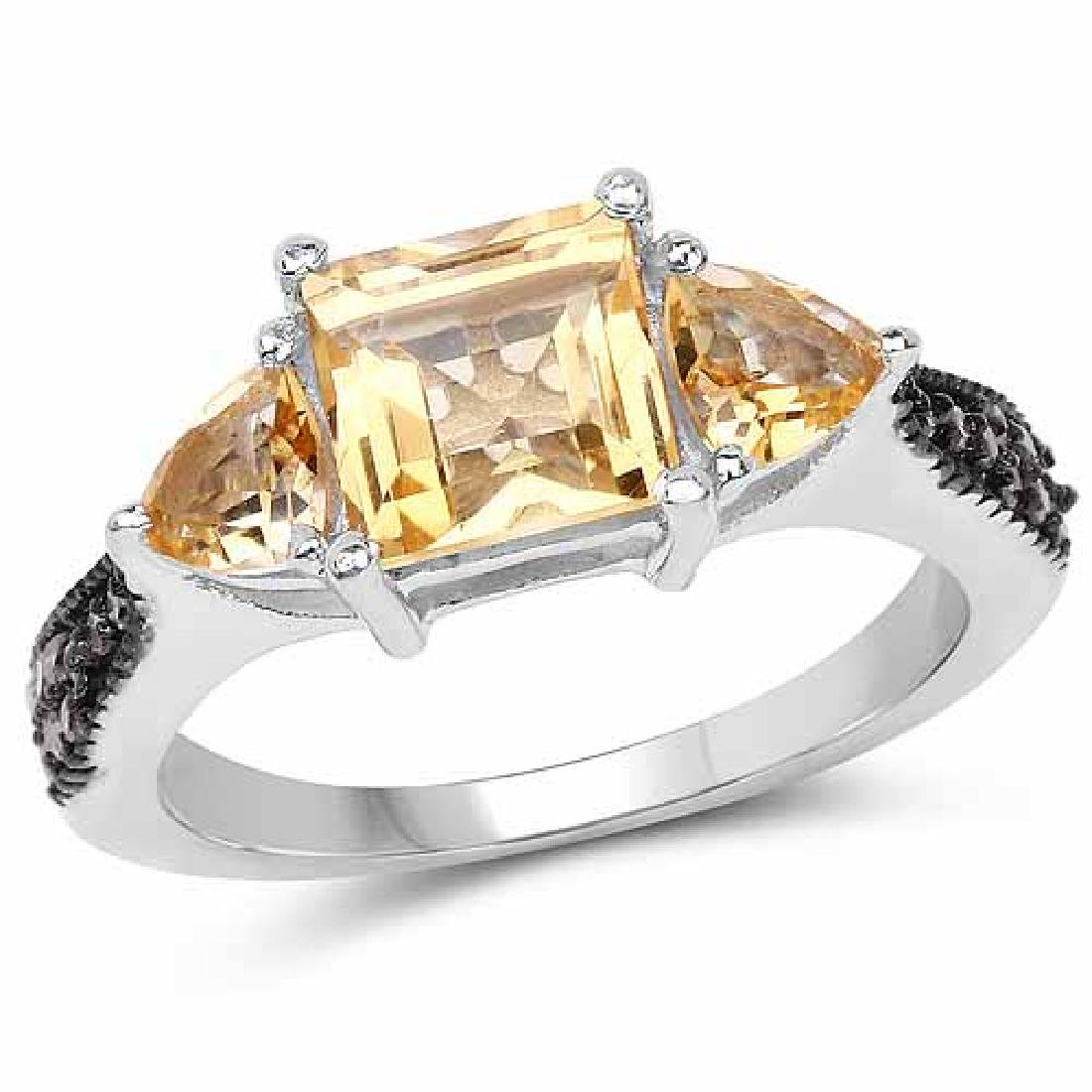 2.61 Carat Genuine Citrine and Champagne Diamond .925 S
