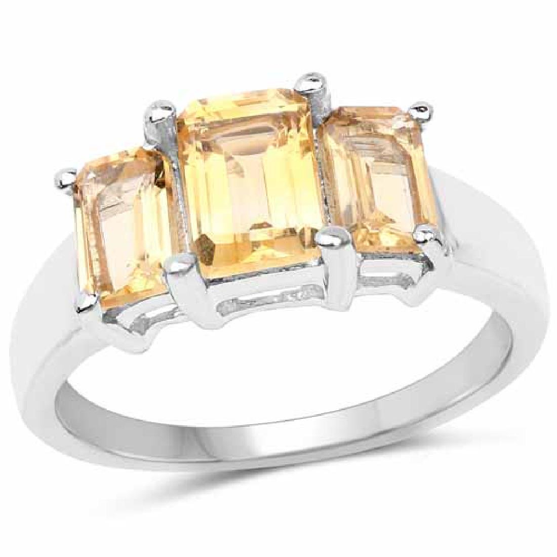 2.10 Carat Genuine Citrine .925 Sterling Silver Ring