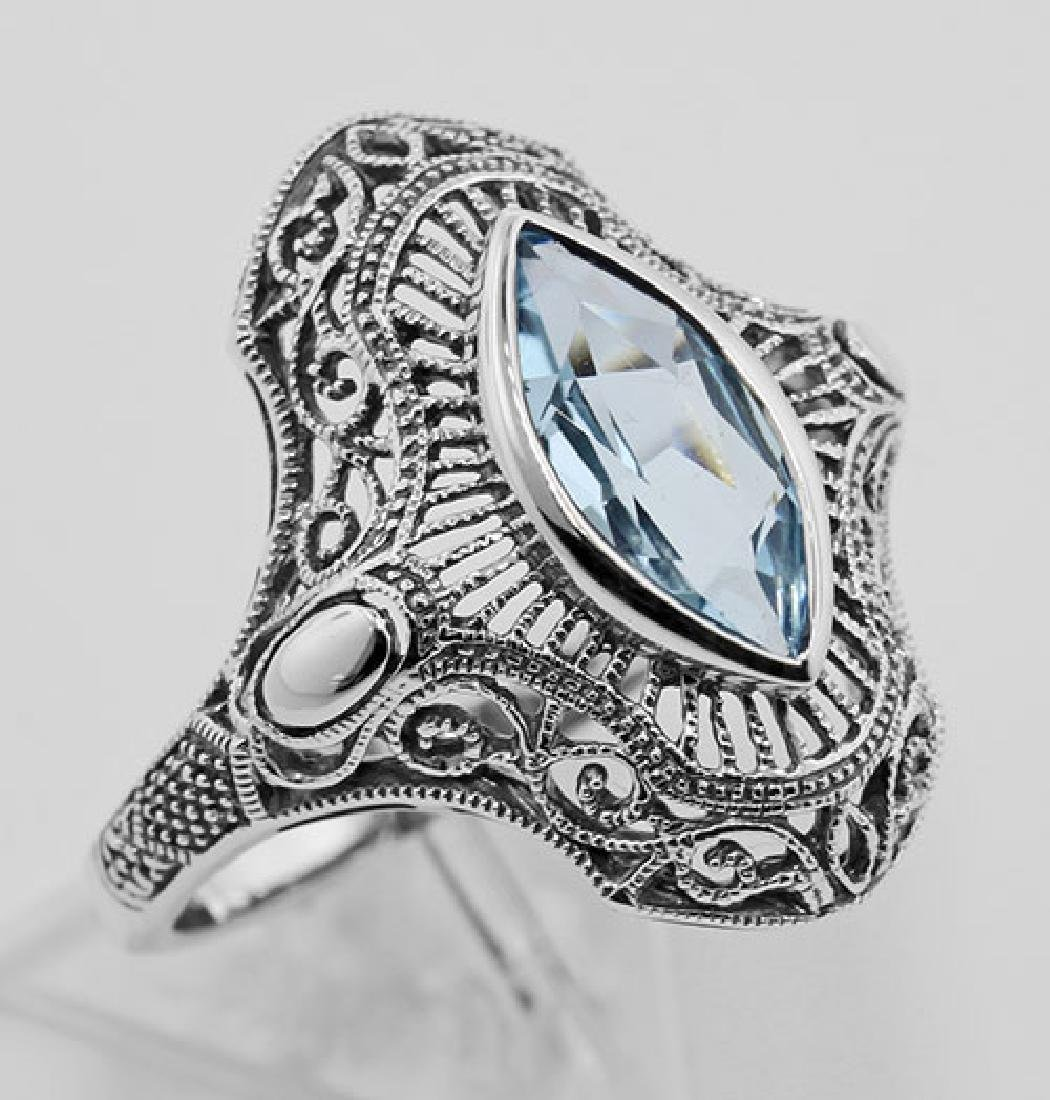 Victorian Style 1.5 Carat Blue Topaz Filigree Ring - St