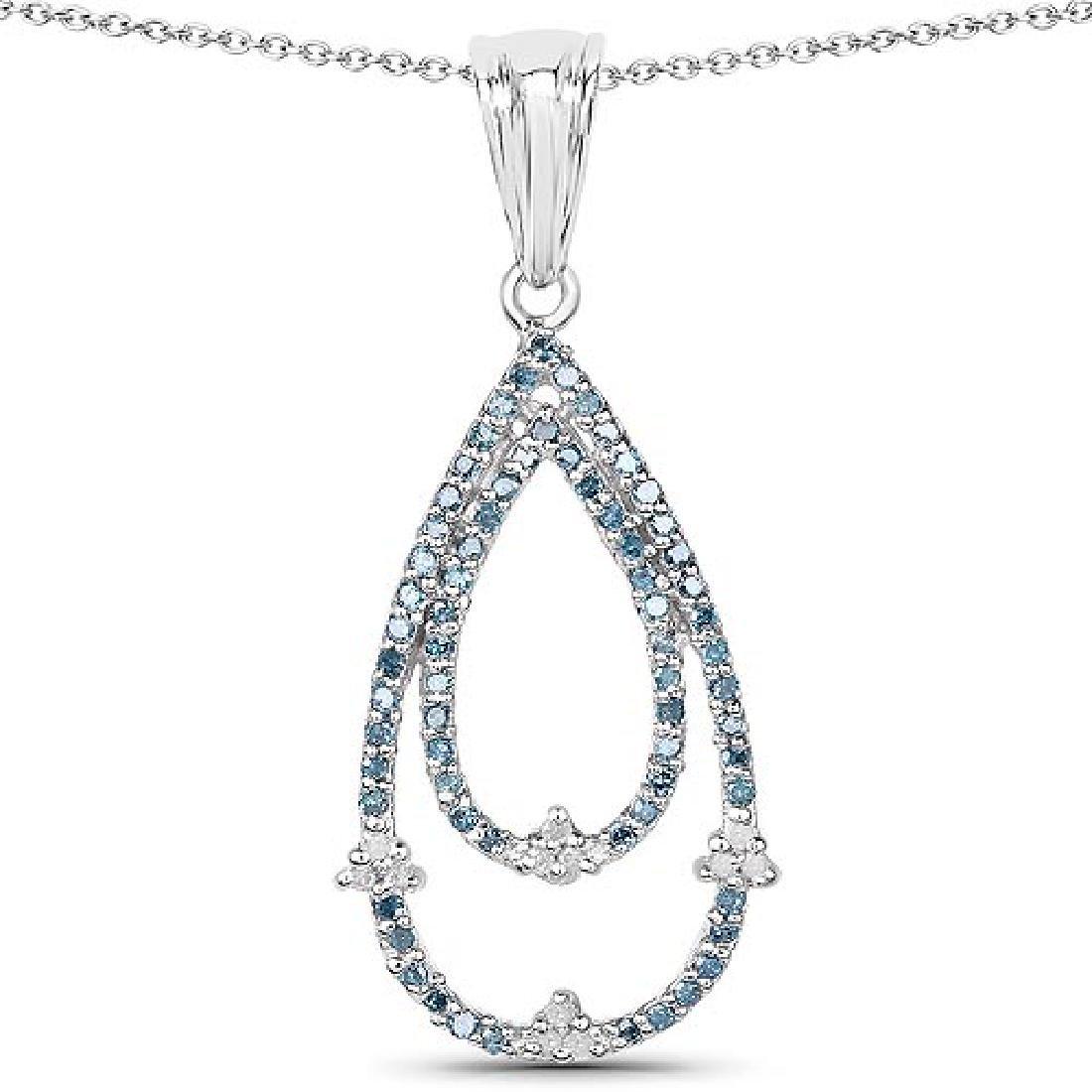 0.34 Carat Genuine Blue Diamond and White Diamond .925