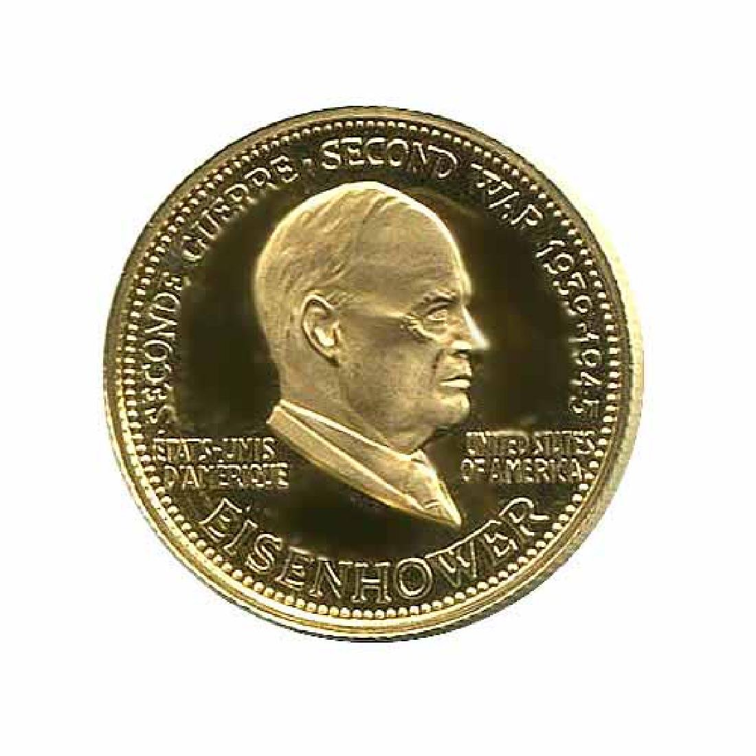 WWII Commemorative Proof Gold Medal 7g. 1958 Eisenhower