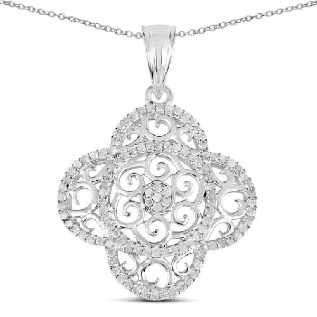 0.57 Carat Genuine White Diamond .925 Sterling Silver P