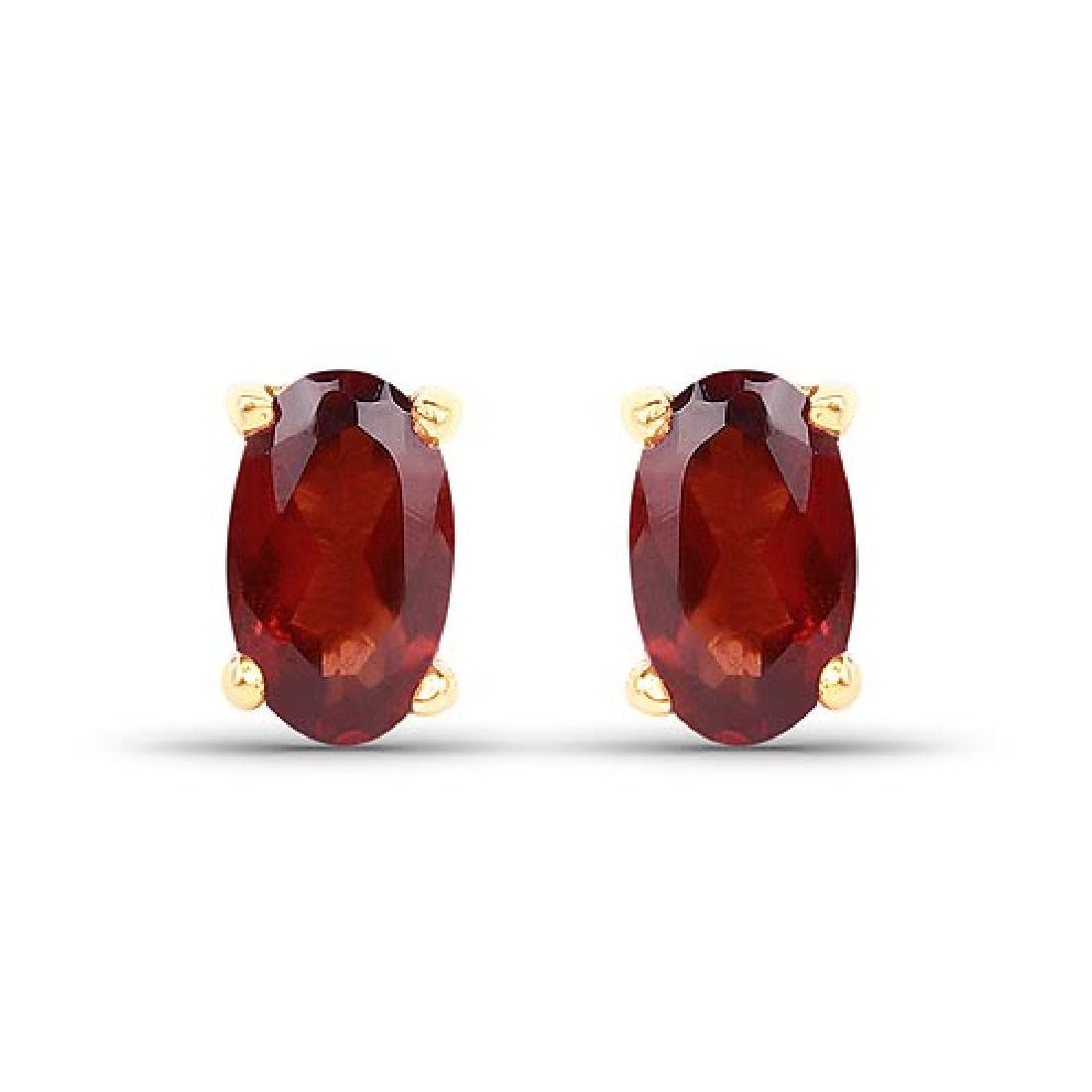 0.64 Carat Genuine Garnet 10K Yellow Gold Earrings