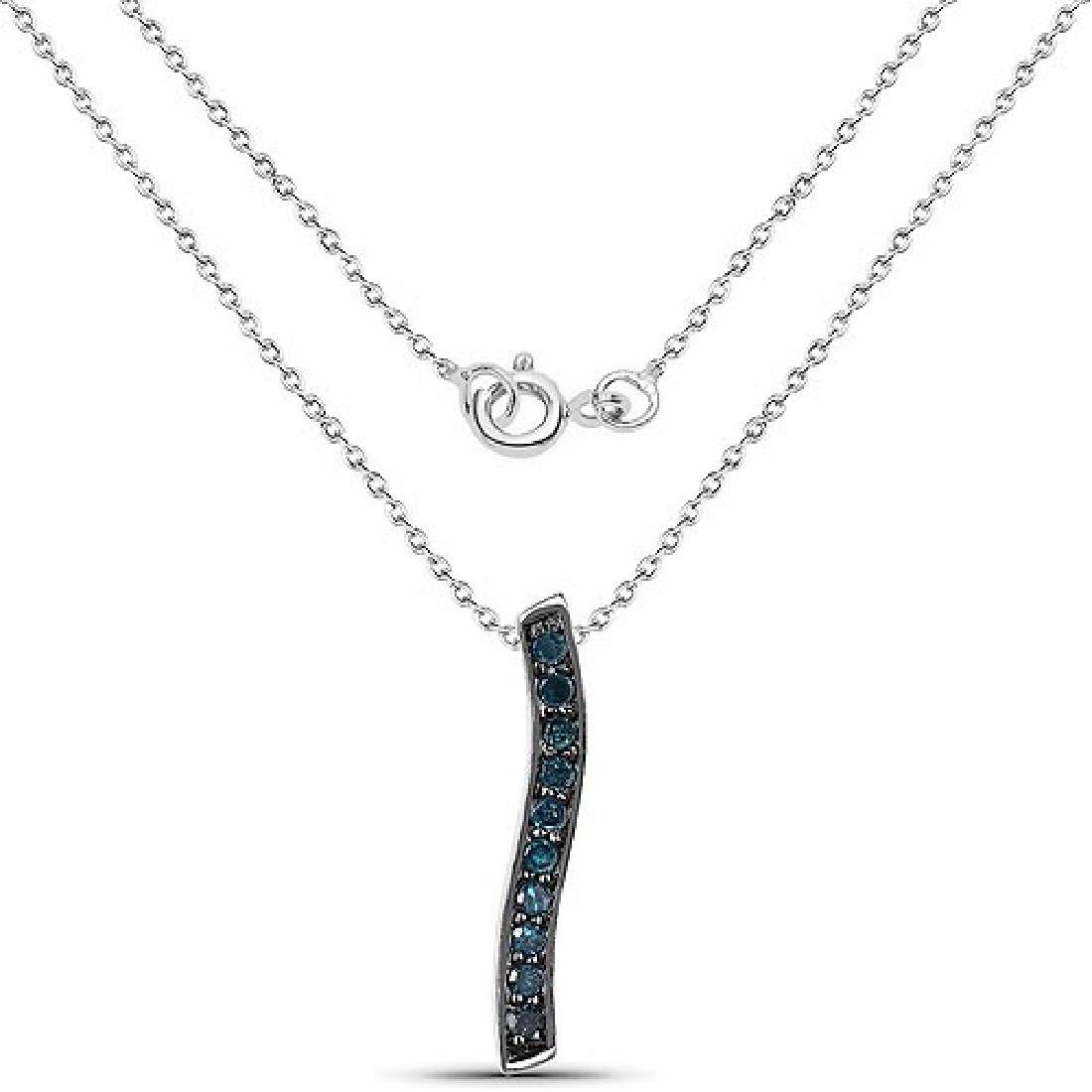 0.30 Carat Genuine Blue Diamond .925 Sterling Silver Pe