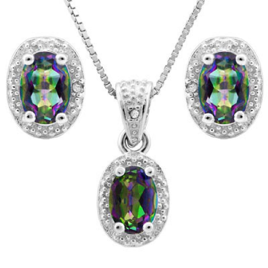 1 4/5 CARAT OCEAN MYSTIC GEMSTONE & DIAMOND 925 STERLIN