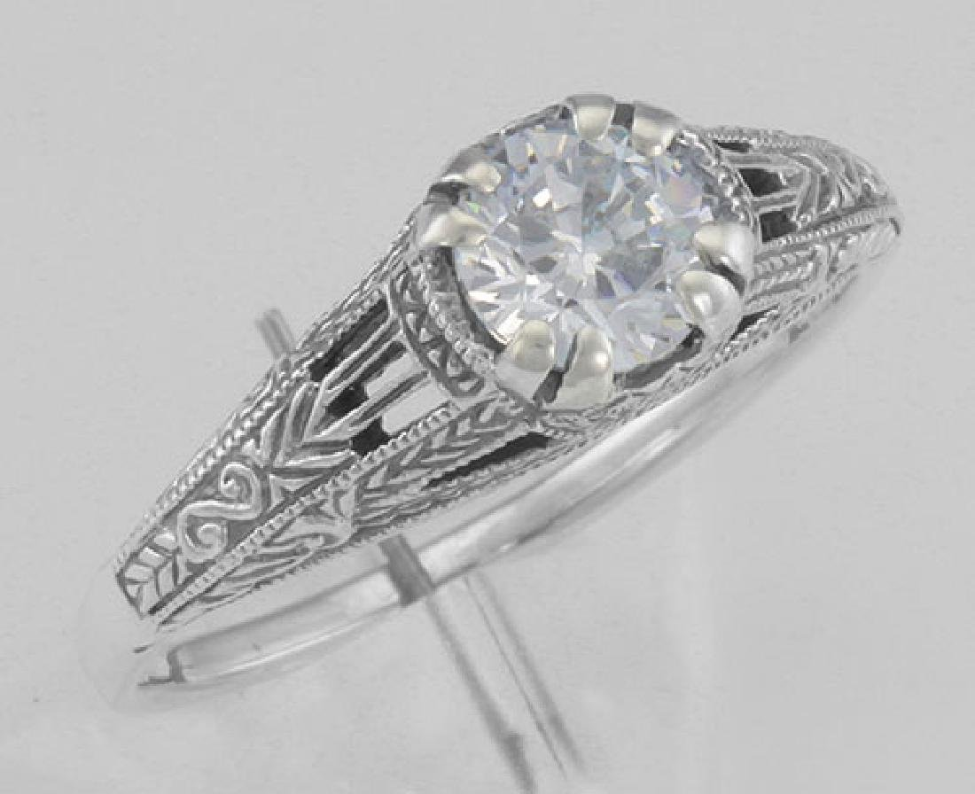 Antique Style CZ Filigree Ring Sterling Silver