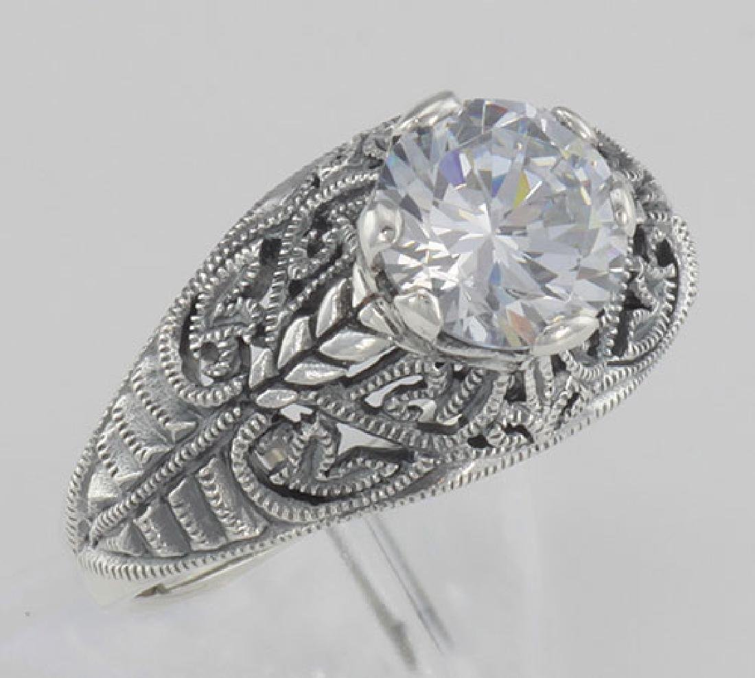 Classic Victorian Style Cubic Zirconia Filigree Ring -