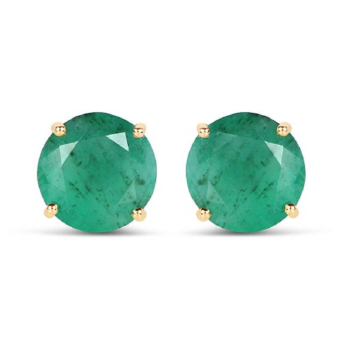 5.50 Carat Genuine Emerald 14K Yellow Gold Earrings