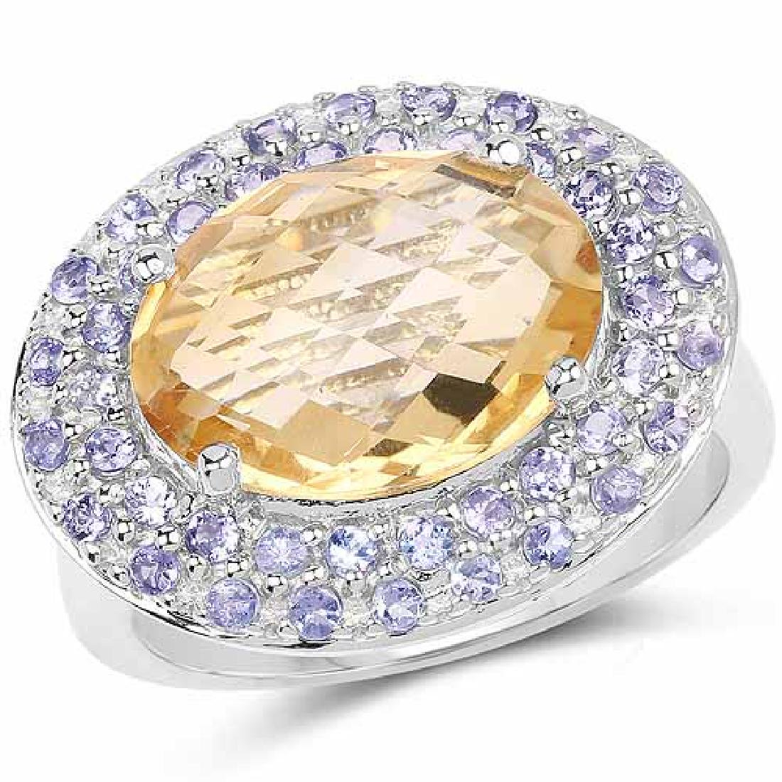 5.78 Carat Genuine Citrine and Tanzanite .925 Sterling
