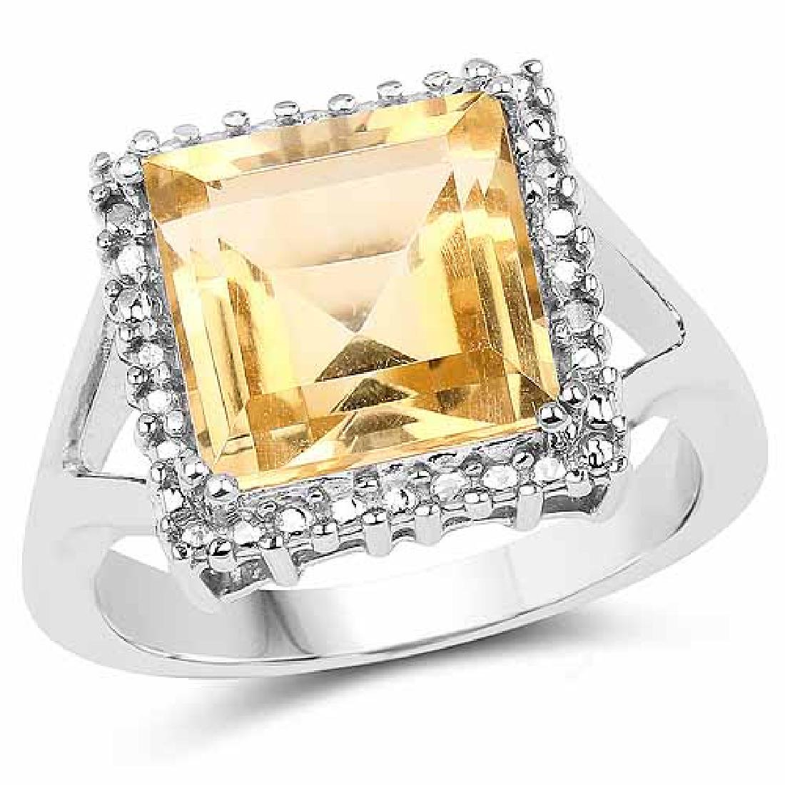 4.90 Carat Genuine Citrine .925 Sterling Silver Ring