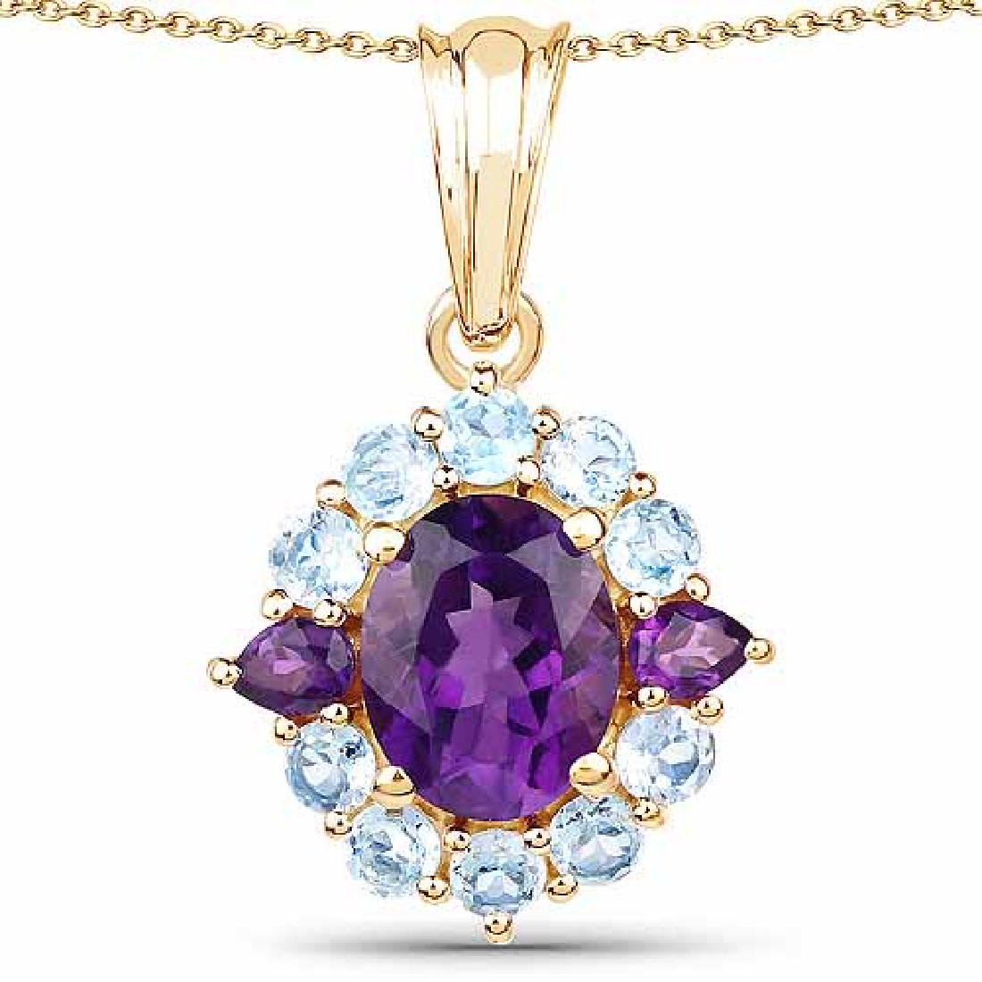 14K Yellow Gold Plated 3.70 Carat Genuine Amethyst and