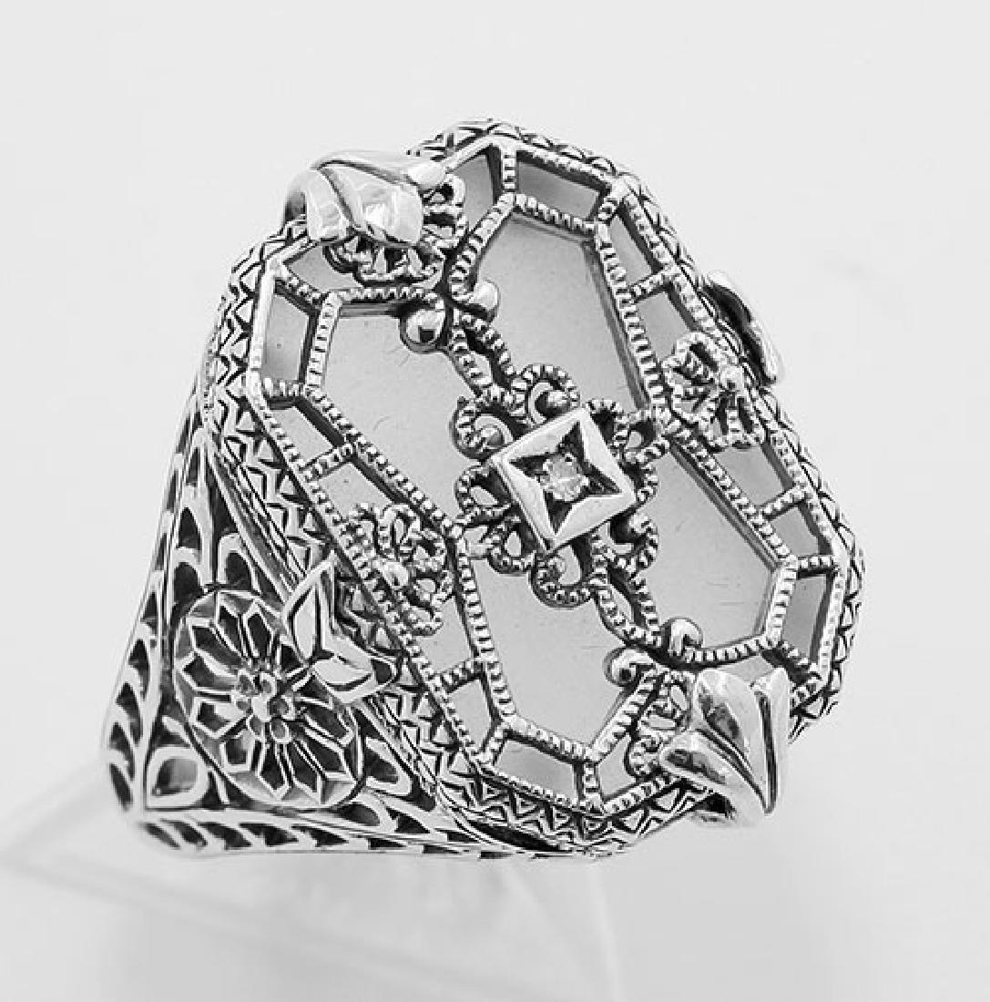 Victorian Style Camphor Glass Crystal w/ Diamond Filigr
