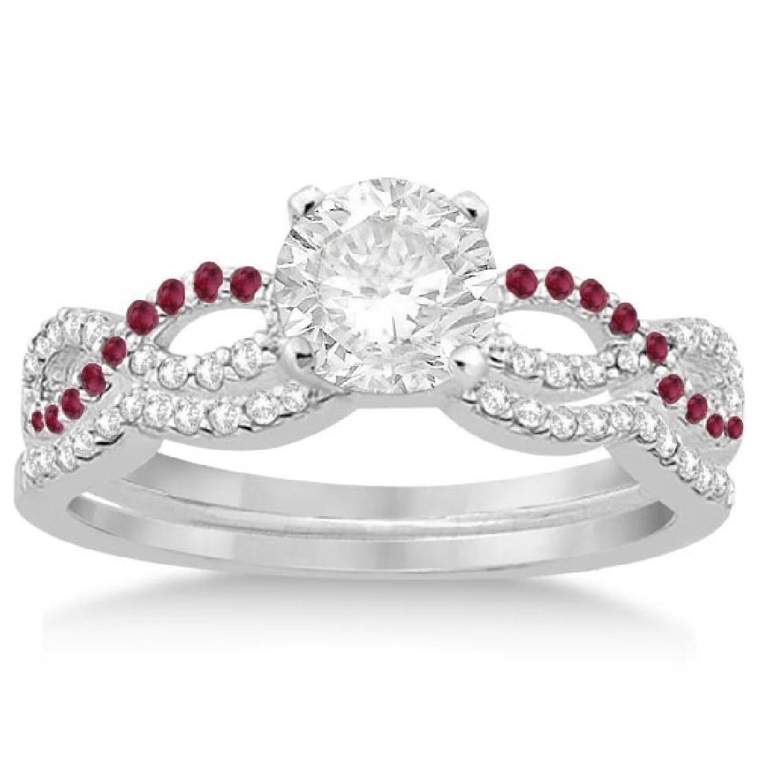 Infinity Diamond and Ruby Engagement Ring Set 14K White
