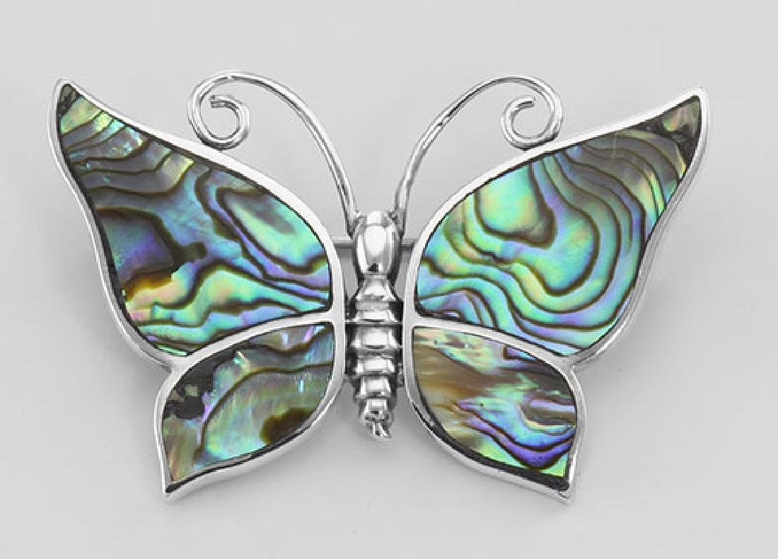 Abalone Shell Butterfly Pin / Brooch - Sterling Silver