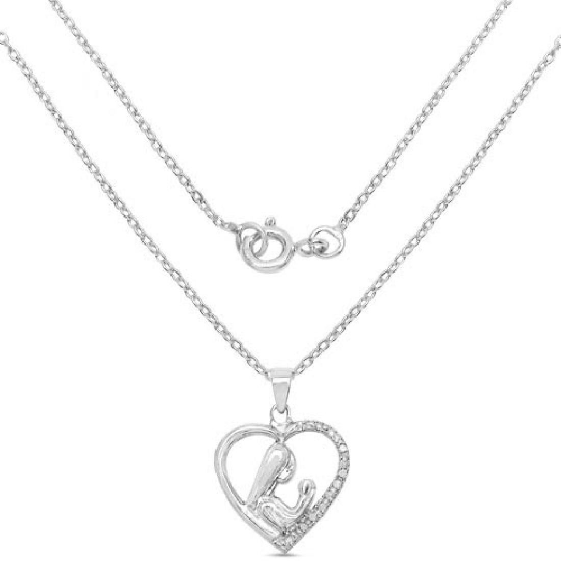 0.08 Carat Genuine White Diamond .925 Sterling Silver P