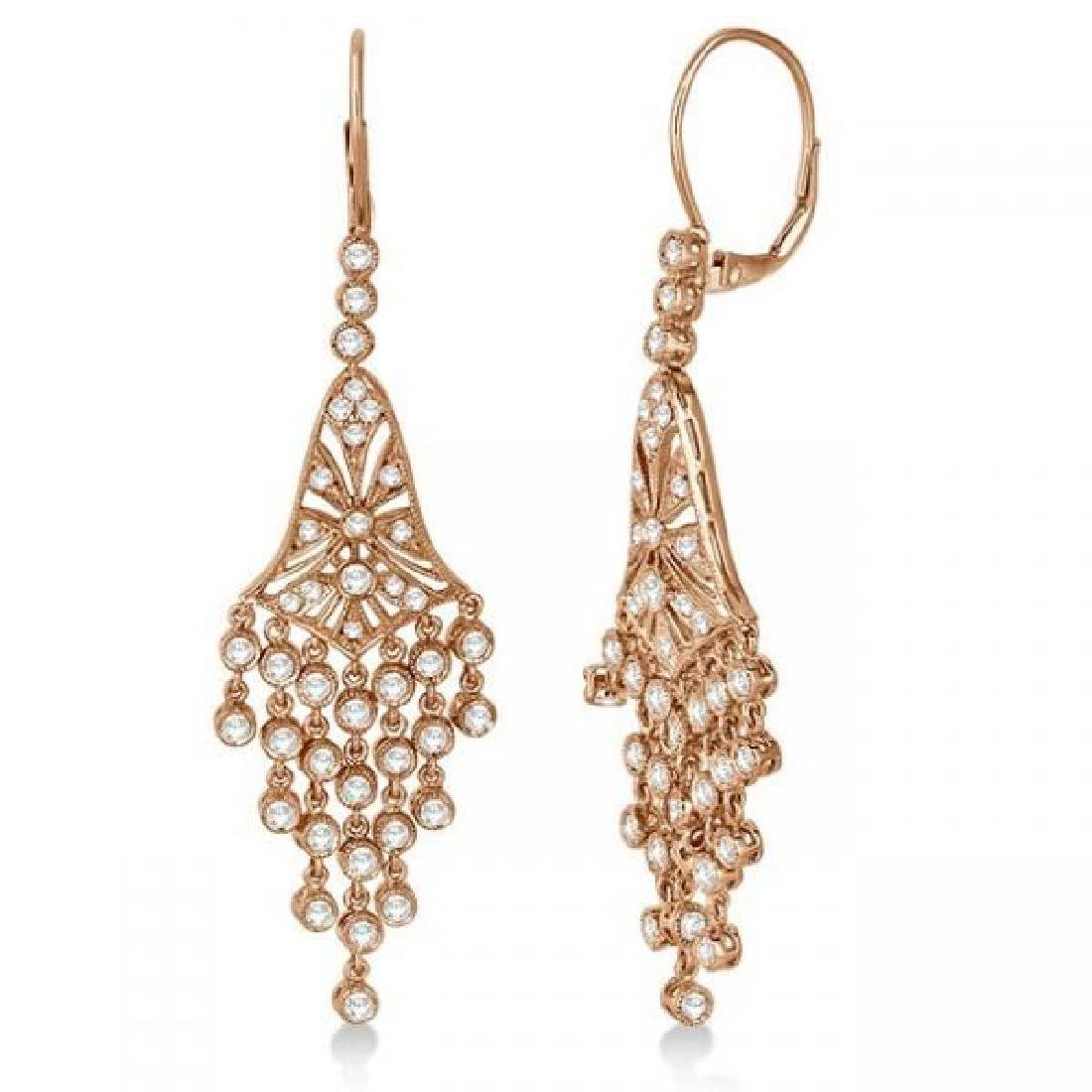 Bezel-Set Dangling Chandelier Diamond Earrings 14K Rose