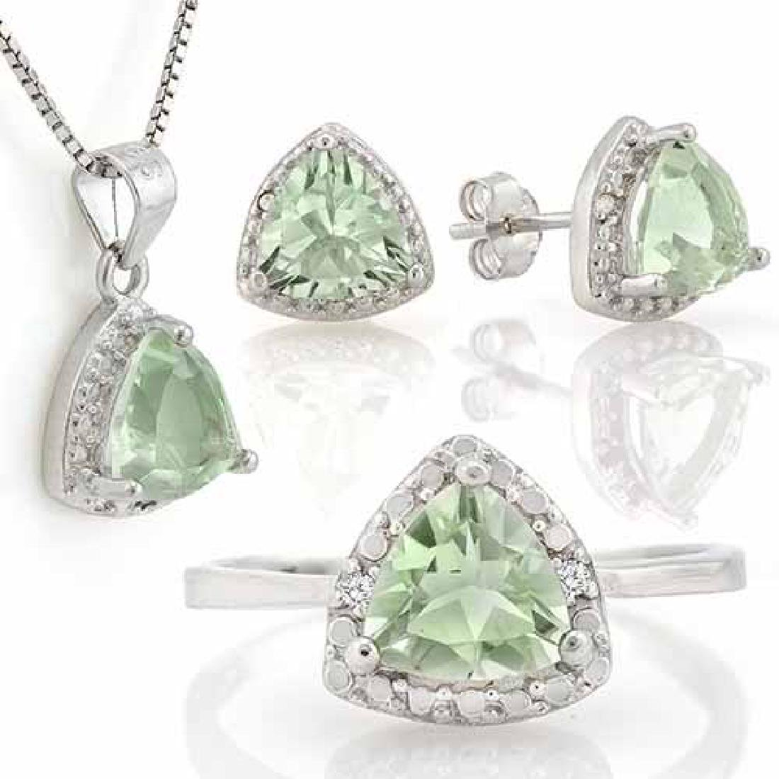 4 1/5 CARAT GREEN AMETHYST & DIAMOND 925 STERLING SILVE