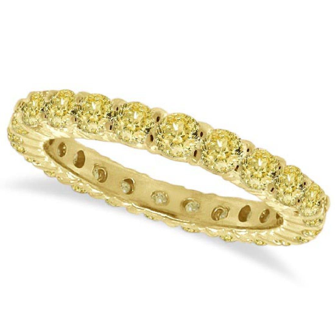 Fancy Yellow Diamond Eternity Ring Anniversary Band 14k