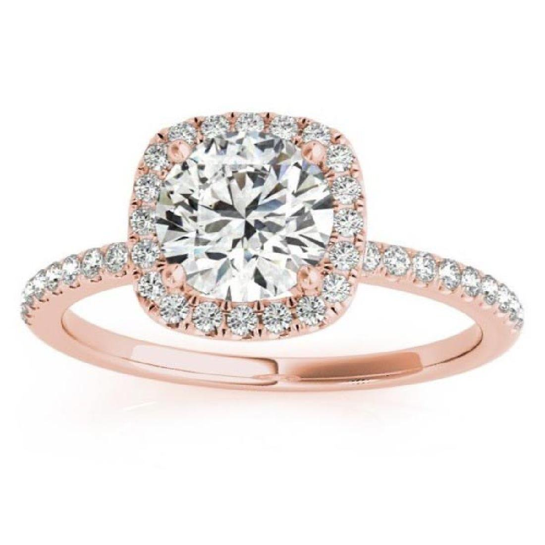 Square Halo Diamond Engagement Ring Setting in 14k Rose
