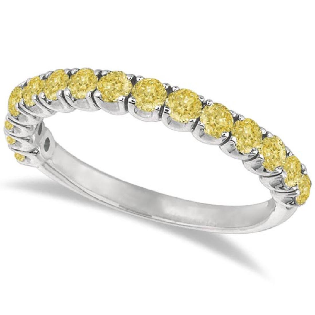 Yellow Canary Diamond Ring Anniversary Band 14k White G