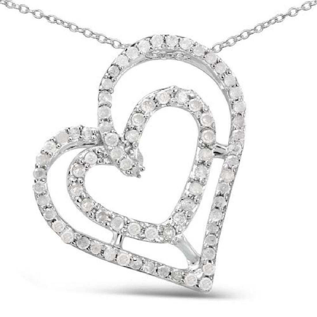 0.42 Carat Genuine White Diamond .925 Sterling Silver P