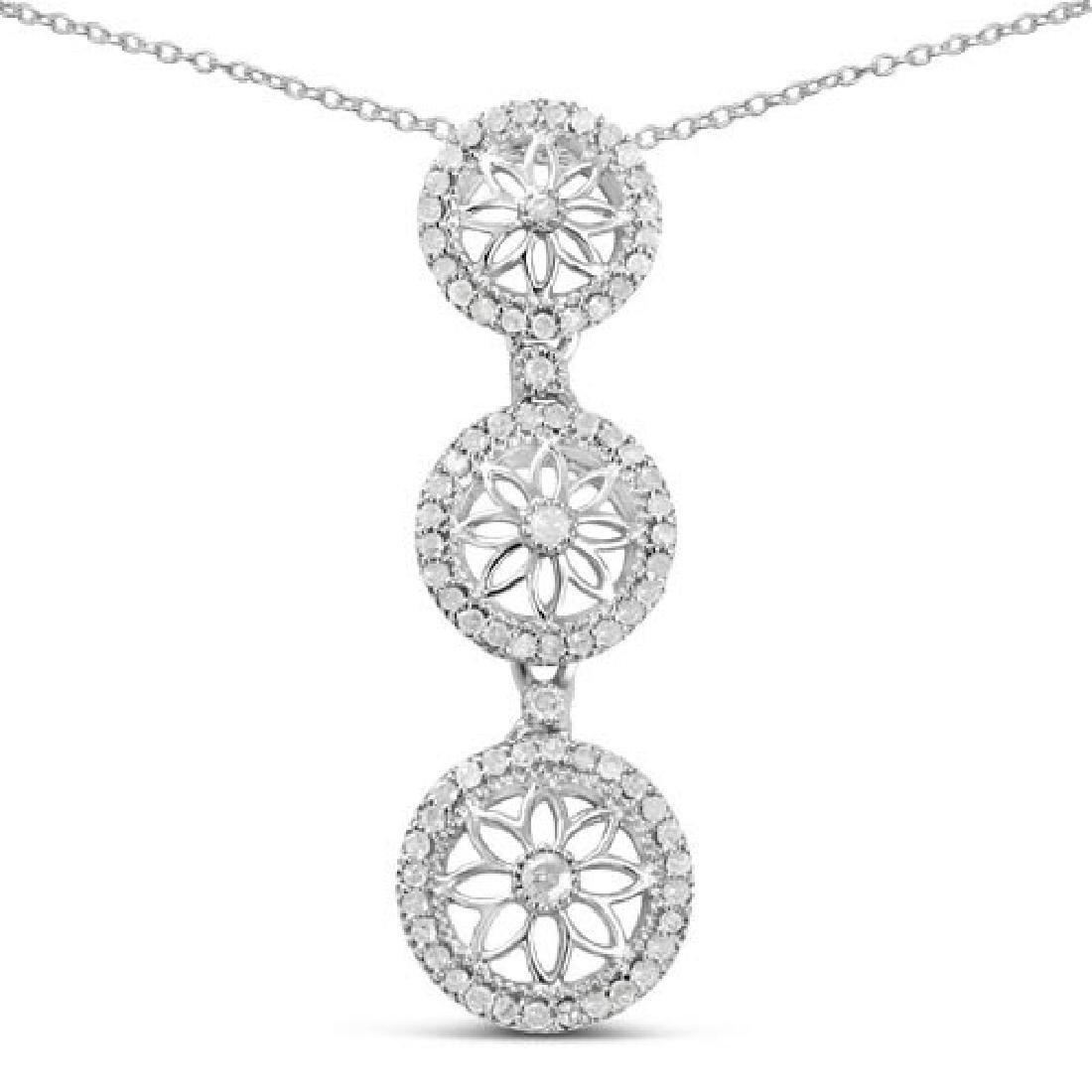 0.38 Carat Genuine White Diamond .925 Sterling Silver P