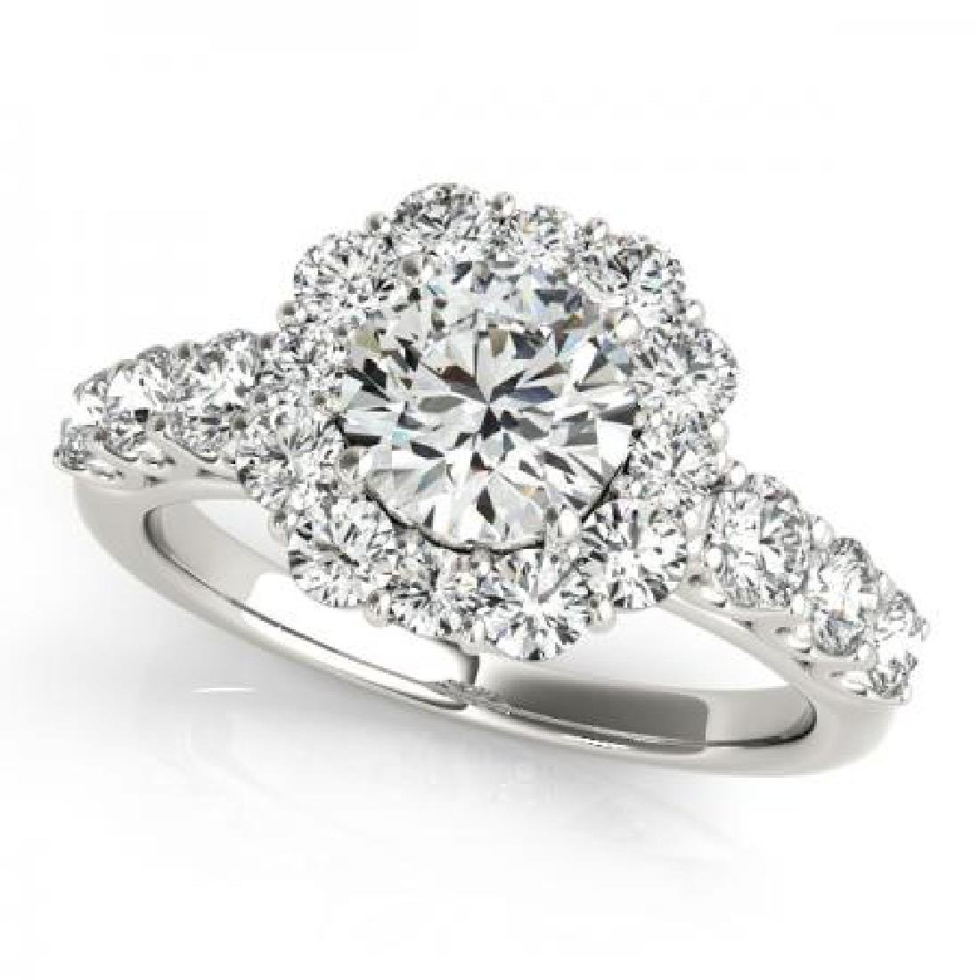 CERTIFIED PLATINUM 2.08 CT G-H/VS-SI1 DIAMOND HALO ENGA