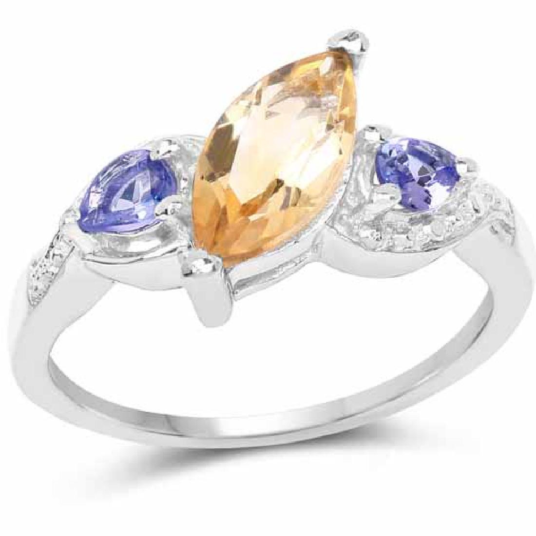 1.28 Carat Genuine Citrine and Tanzanite .925 Sterling