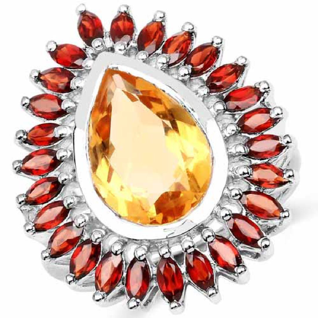 8.32 Carat Genuine Citrine and Garnet .925 Sterling Sil